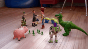 Sora, Goofy, and Donald Meeting the Toy Story Characters